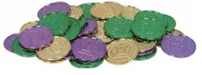 Click to view product details and reviews for Mardi Gras Coins Pack Of 100.