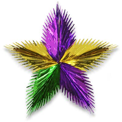 Green, Gold & Purple Star Burst 16""