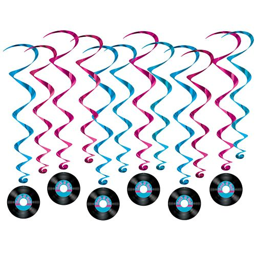 Rock & Roll Record Whirl Decorations - 77cm - Pack of 12