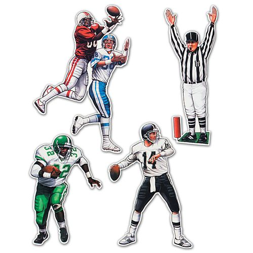 American Football Card Cutout Wall Decorations - Pack of 4