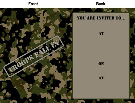 Army Camo Invites - Pack of 8
