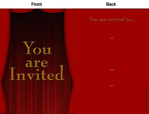 Award Night Curtain Invites - Pack of 8