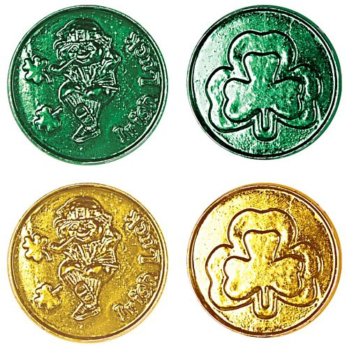 Green and Gold Lucky Leprechauan Shamrock Plastic Coins - Pack of 40
