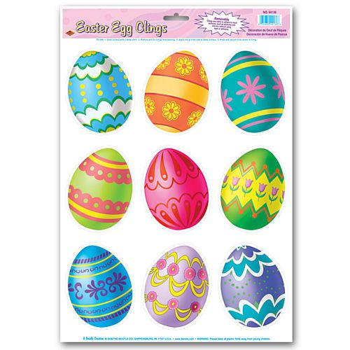 Easter Egg Window Sticker Clings - 43cm - Sheet of 9