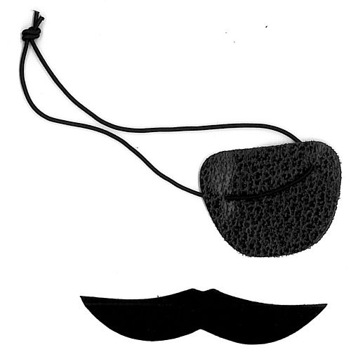 Pirate Eyepatch and Moustache Set - Each