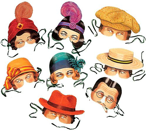 Twenties Masks (1920's) - Assorted - Pack of 8