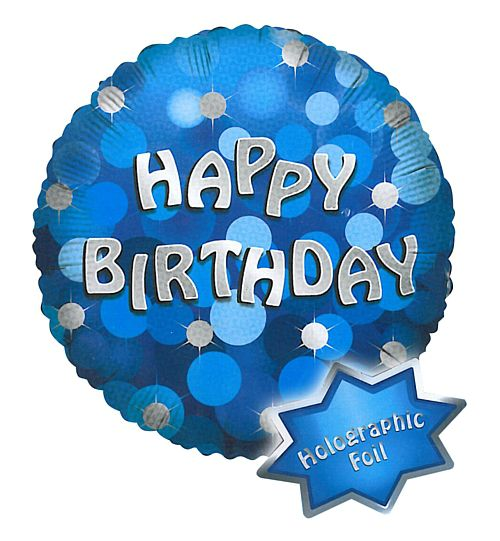 "18"" Blue Happy Birthday Holographic Foil Balloon"