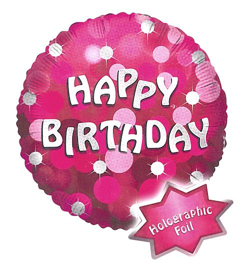 "18"" Pink Happy Birthday Holographic Foil Balloon"