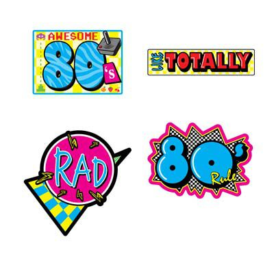 Awesome 80's Cutouts - Pack of 4 - 16'' - Printed Both Sides