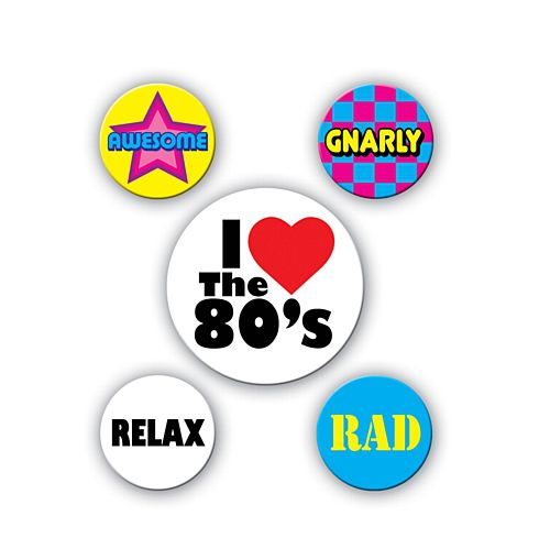 80's Party Badges - Pack of 5