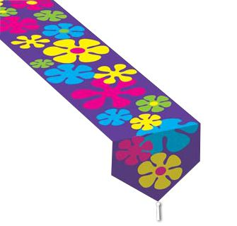Printed Retro Flowers Paper Table Runner - 1.83m