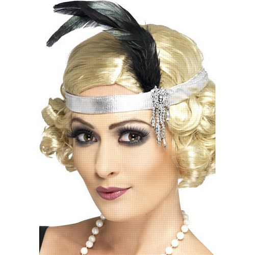 Silver Satin Charleston Headband