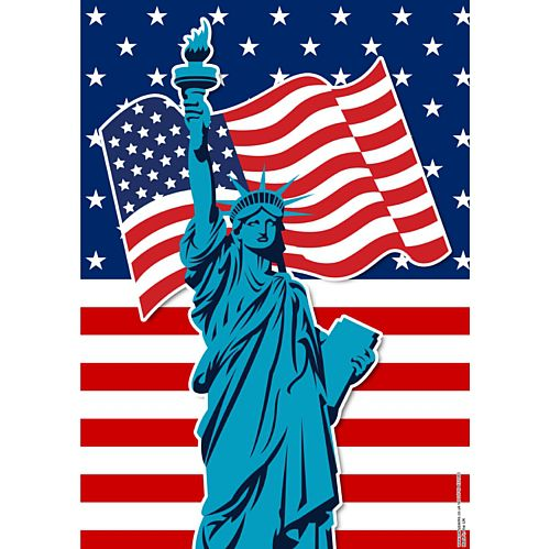 American Flag and Statue of Liberty Poster - A3 - Each