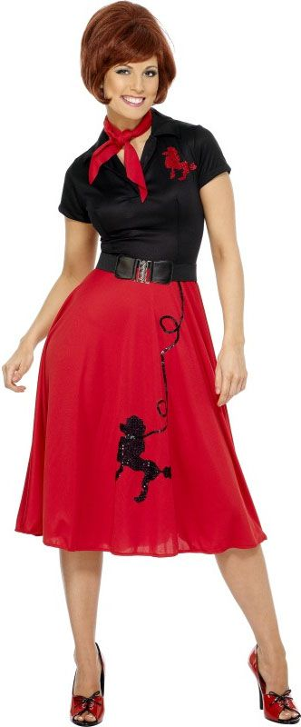 50s Style Poodle Costume - Red and Black