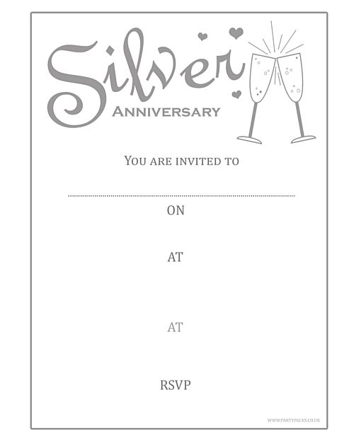 Silver Anniversary Invites - Pack of 8