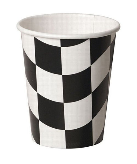 Black and White Checkered Cups - 266ml - Pack of 8