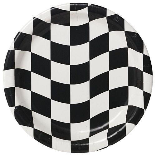 Black and White Checkered Plates - 23cm - Pack of 8
