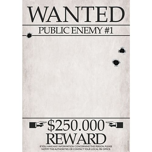 Gangster Wanted Sign Poster - A3