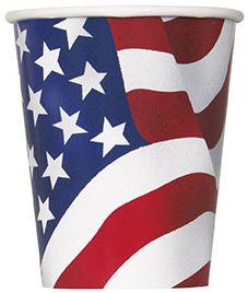 American Flag Cups - 9oz - Pack of 8