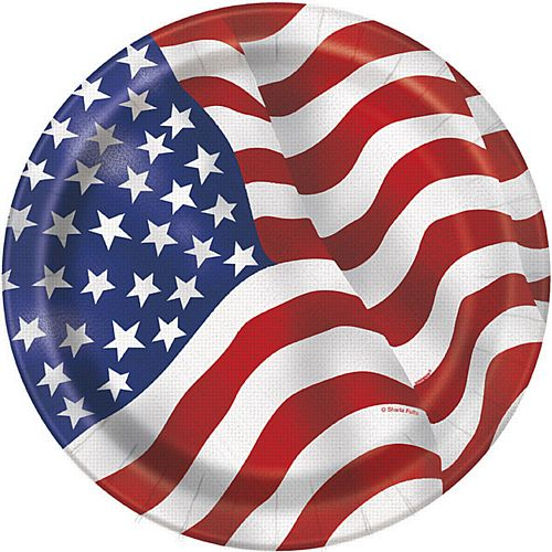American Flag Plates - 23cm - Pack of 8