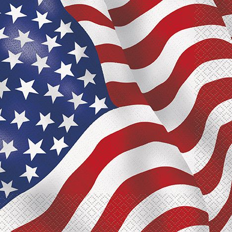 American Flag Napkins - 33cm - Pack of 16