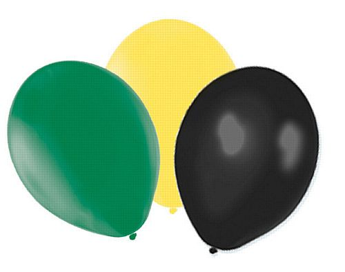 "Yellow, Green and Black Latex Balloons - 10"" - Pack of 50"