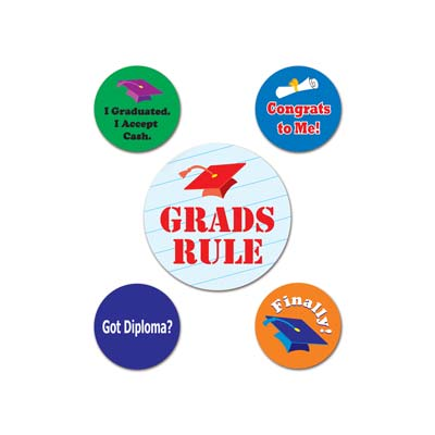 Graduation Party Badges - Pack of 5