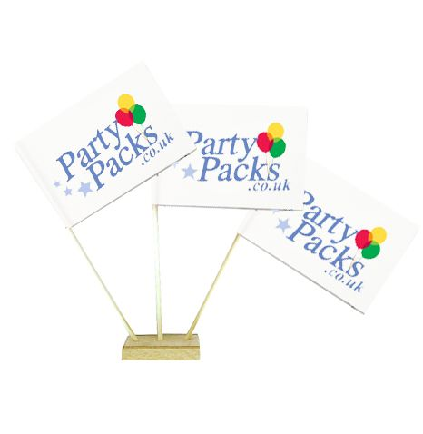 "Pack of 50 Custom Printed Table Flags 6"" on 10"" Pole"