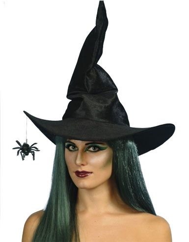 Black Velour Witch Hat with Dangling Spider