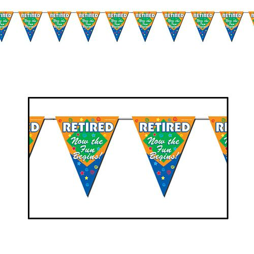 Retired Now The Fun Begins  'All Weather' Flag Bunting - 3.7m (12') - 12 Flags