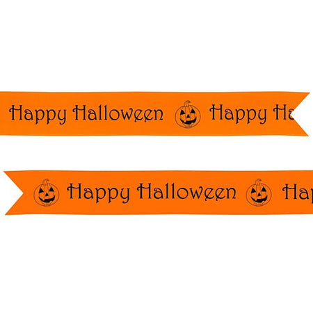 Click to view product details and reviews for Happy Halloween Pre Printed Ribbon Orange 25mm Per Metre.
