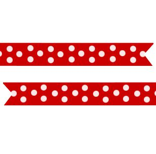 Polka Dot Pre Printed Ribbon Red - 25mm - Per Metre