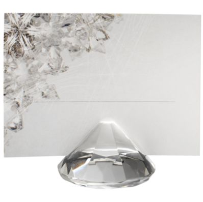 Glass Diamond Weight Place Card Holder - 2""