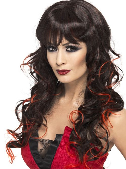 Vixen Wig, Black With Red Streaks