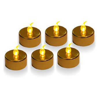 Gold LED Tea Lights - Pack of 6