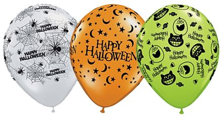 "Assorted Halloween Qualatex Balloons - 11"" - Pack of 10"