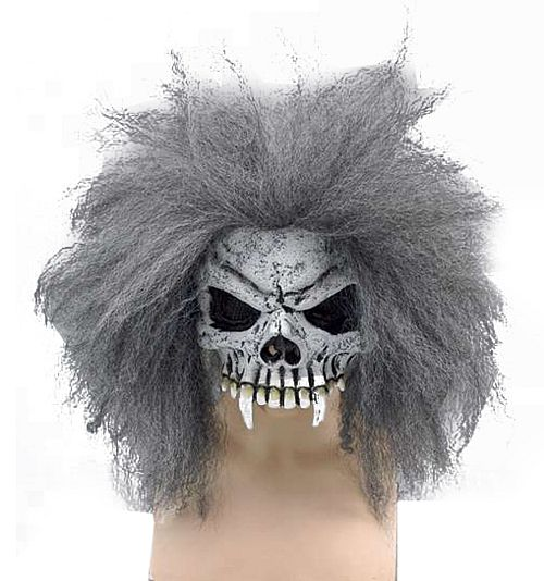 Skull Half Face Rubber Mask with Hair