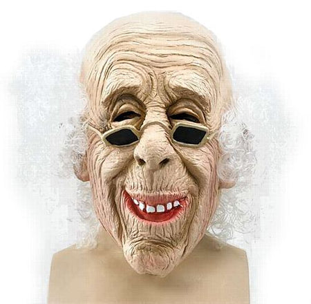 Old Man Over the Head Rubber Mask with Hair