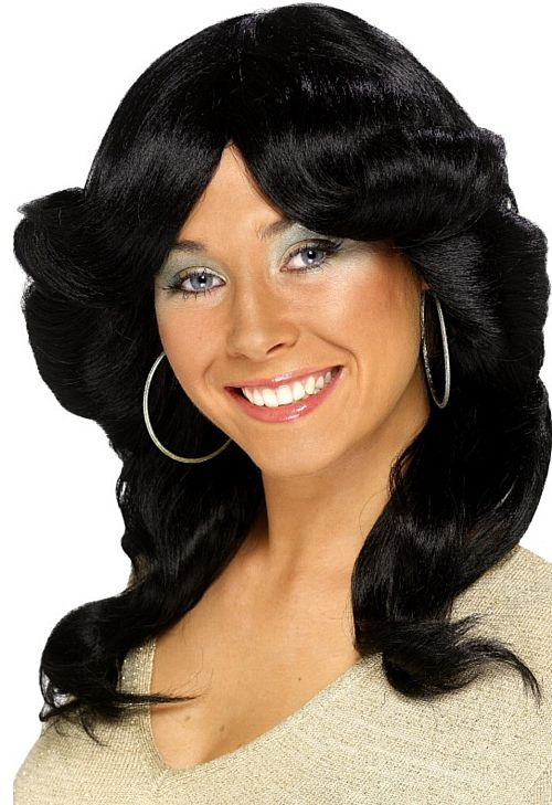 70's Layered Black Flick  Wig