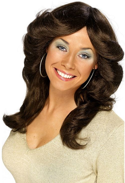 70's Layered Brown Flick Wig