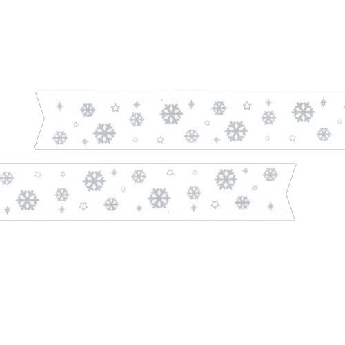 Snowflakes Pre Printed Ribbon White - 25mm - Per Metre