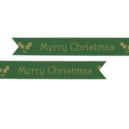 Click to view product details and reviews for Green Merry Christmas Ribbon 25mm Per Metre.