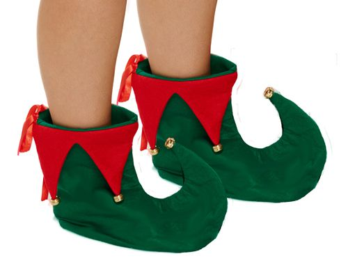 Red & Green Plush Elf Boots