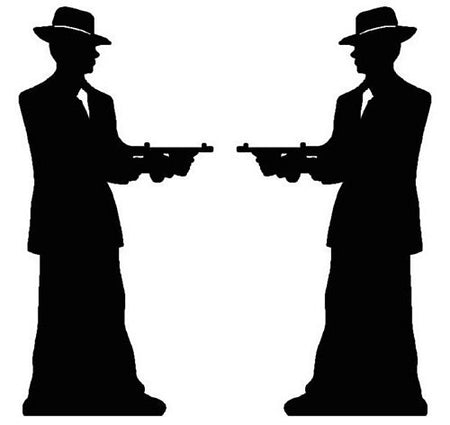 Click to view product details and reviews for Gangster Pair Silhouette Lifesize Cardboard Cutout 185m.