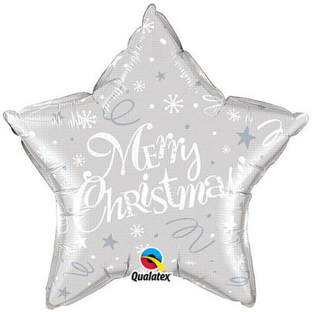 Merry Christmas! Festive Silver Qualatex Foil Balloon - 20
