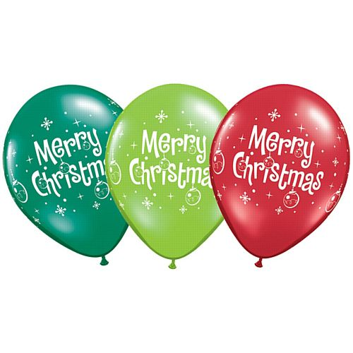 "Assorted Lime, Emerald & Ruby Christmas Balloons - 11"" - Pack of 10"