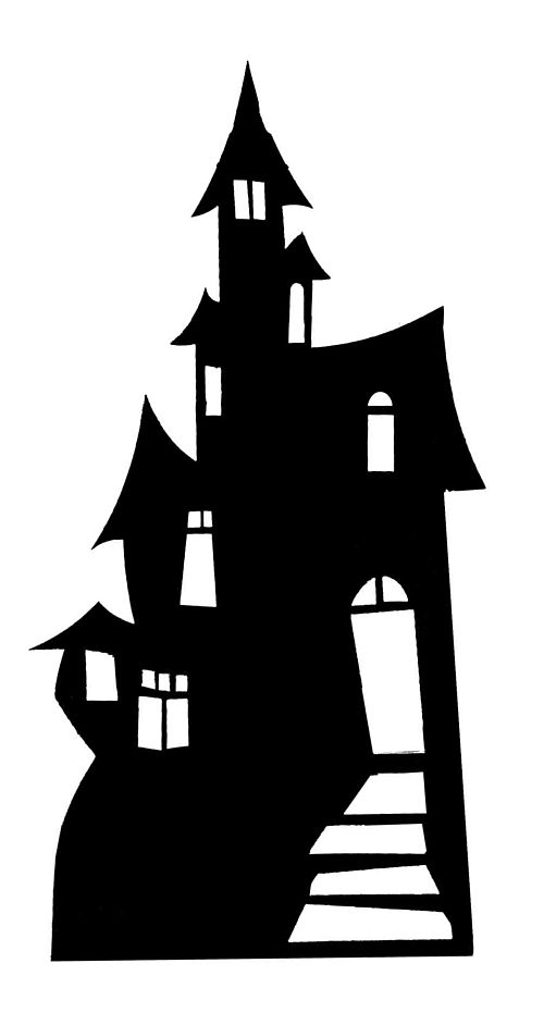 Haunted House Silhouette Cardboard Cutout - 98cm