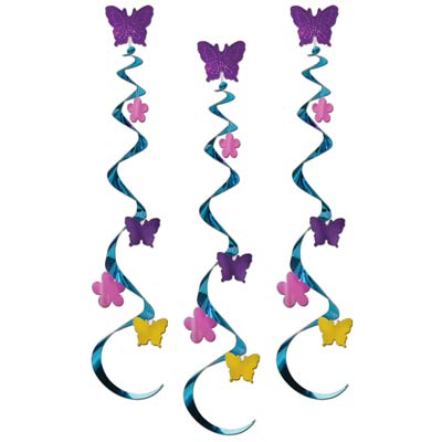 Butterfly & Flower Whirls - 76cm - Pack of 3