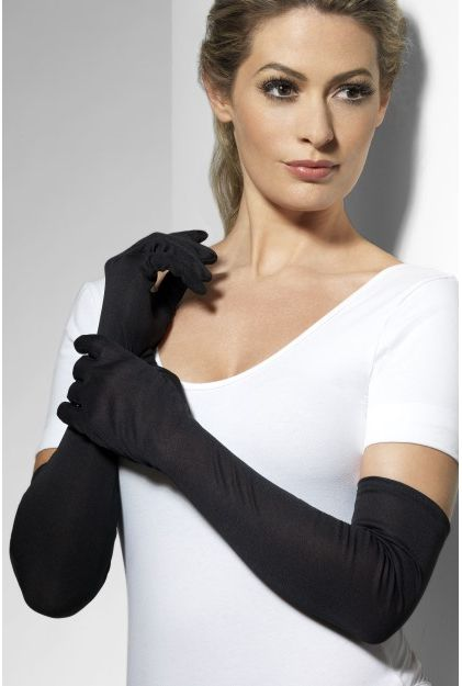 Long Black Jersey Opera Gloves