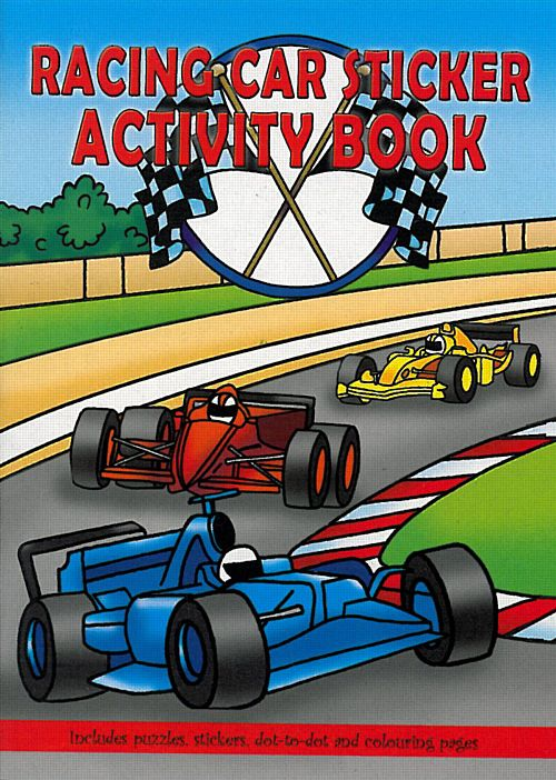 Racing Car Sticker Activity Book - 36 Page